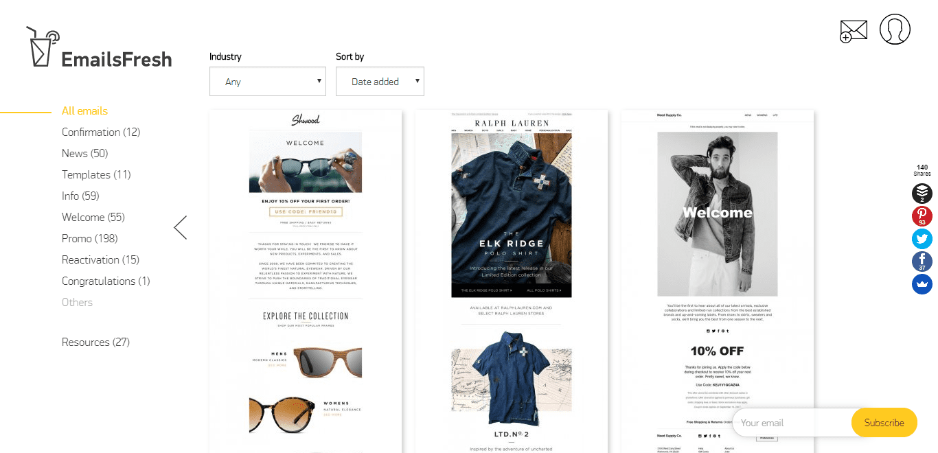 emailsfresh e-commerce email gallery inspiration