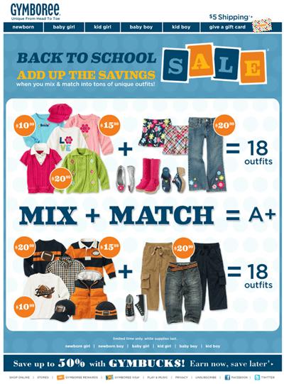 gymboree back to school savings email marketing parents benefit children kids clothes