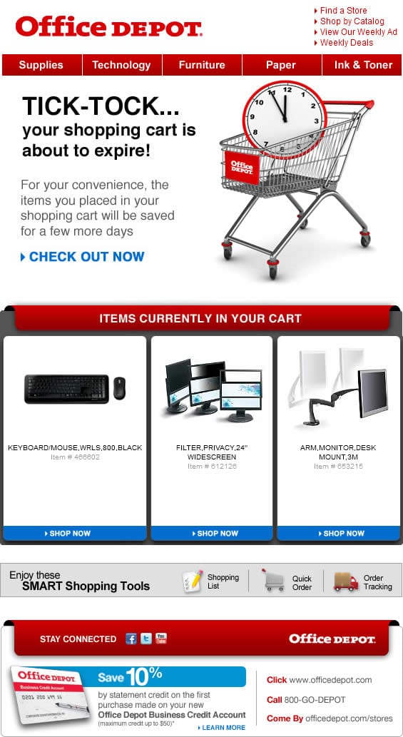 office depot abandoned cart email office supplies