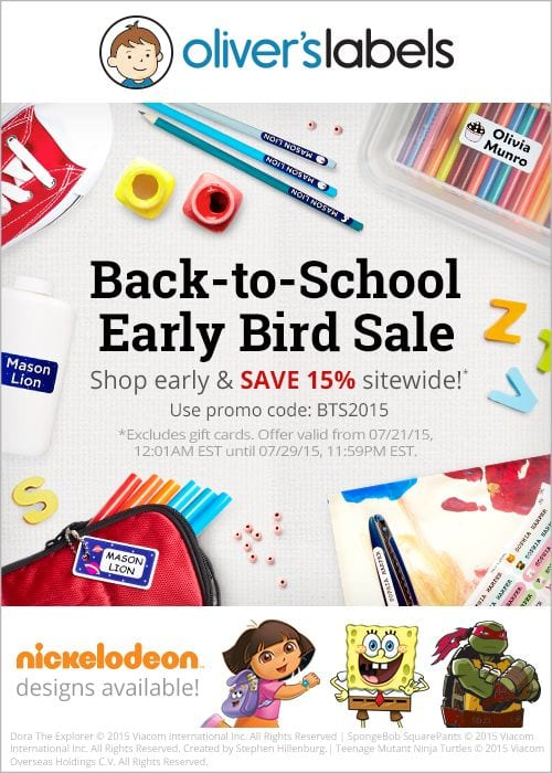 oliver's labels back to school early bird sale discount saving offer promo code