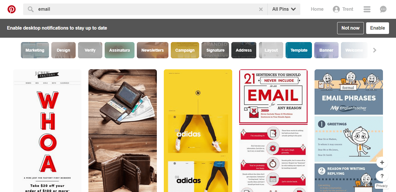 pinterest pins email designs inspiration