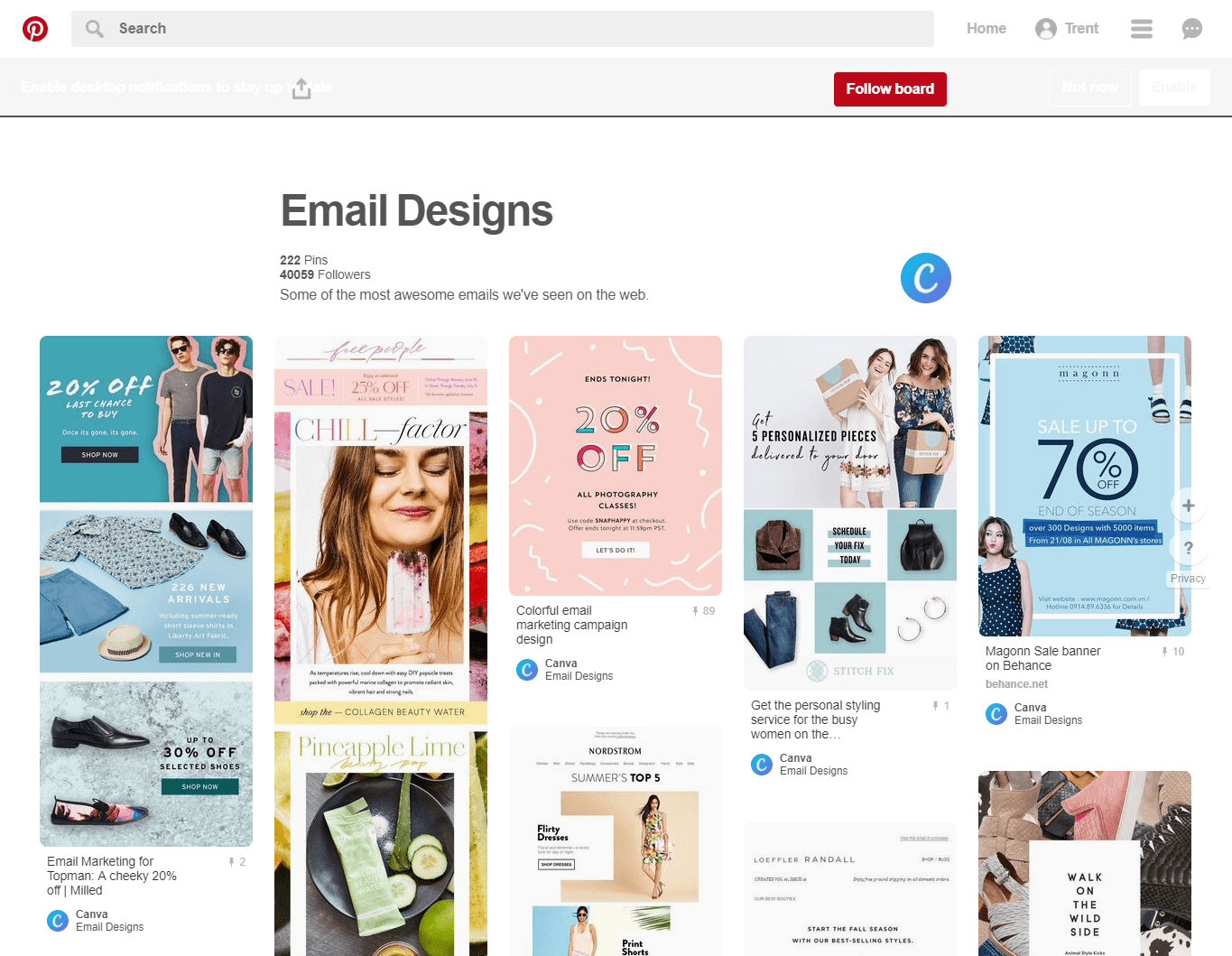 pinterest board canva email examples inspiration