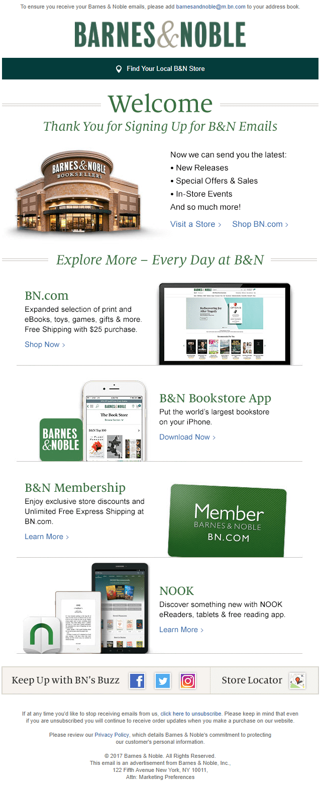 barnes & noble welcome email brand awareness bricks and mortar store