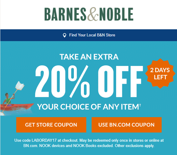 email newsletter offer code 20% off coupon in store online labor day urgency