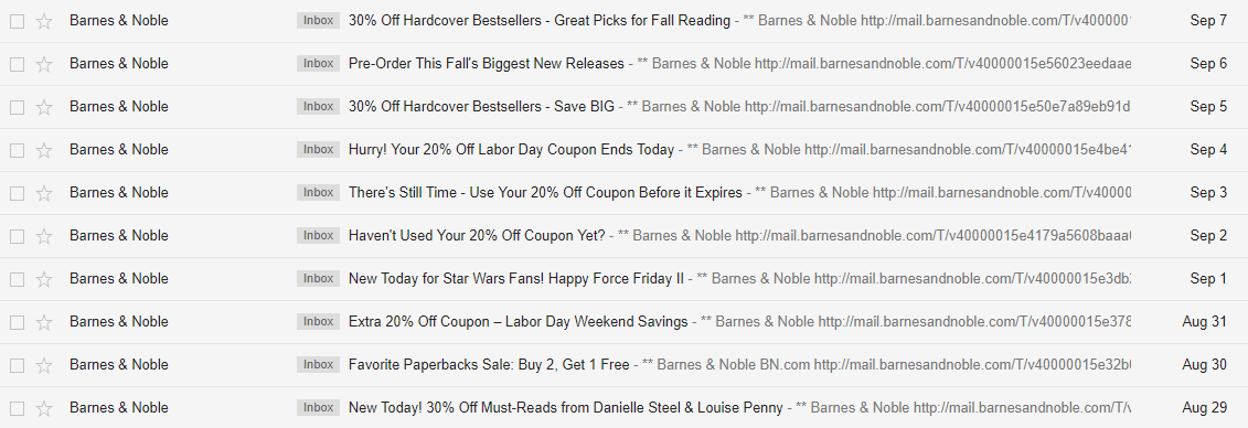 barnes & noble gmail daily emails sending newsletters