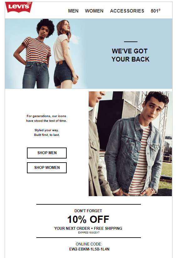 Levis welcome email 2