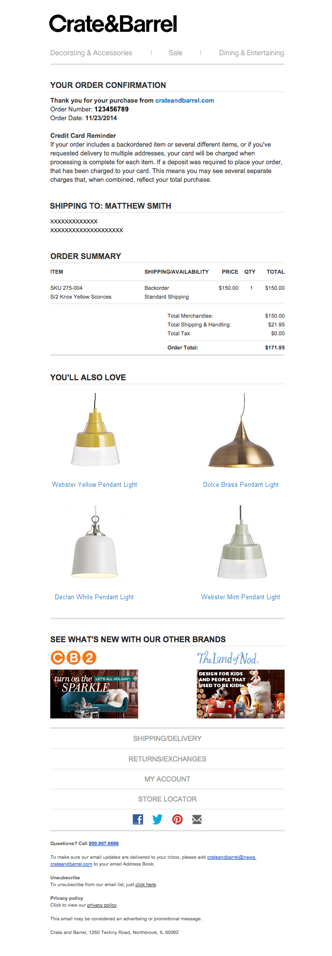 Crate & Barrel e-commerce confirmation email