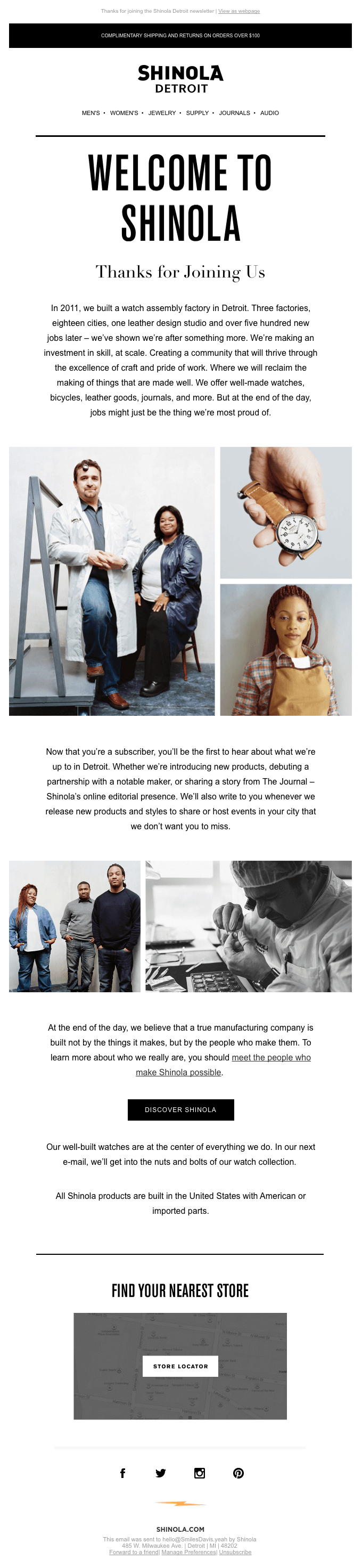 Shinola Detroit's welcome email
