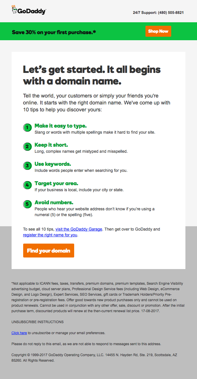 GoDaddy welcome email