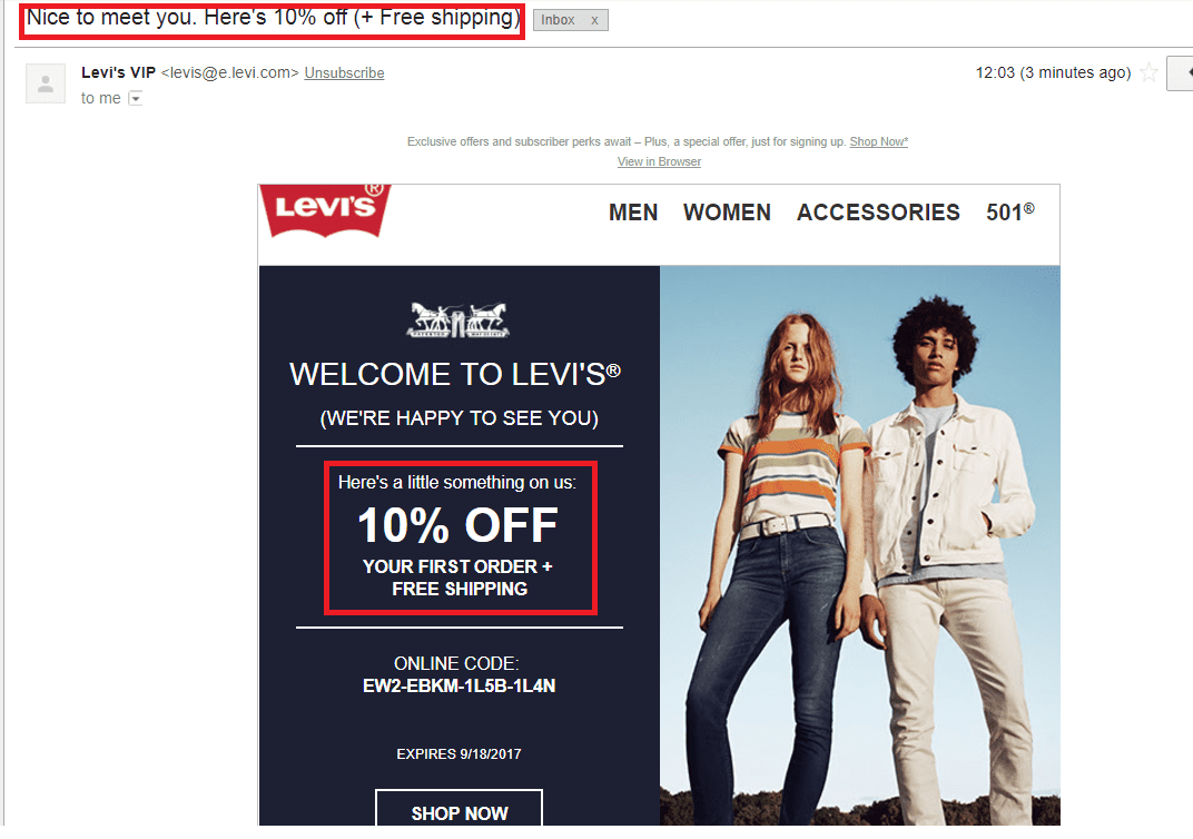 Levi's Welcome Email
