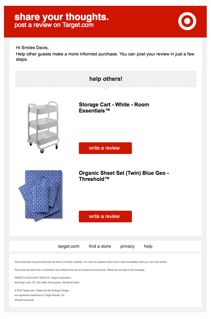Target's e-commerce review email