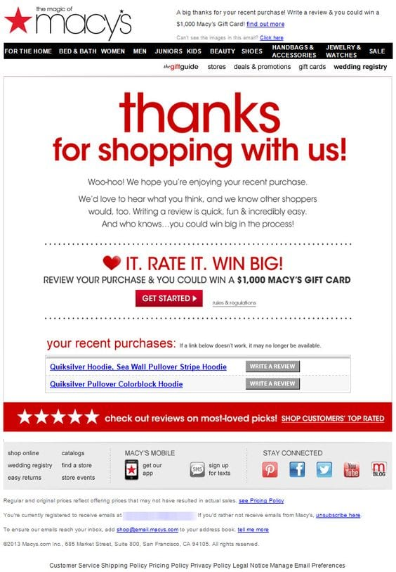 Macy's e-commerce review email