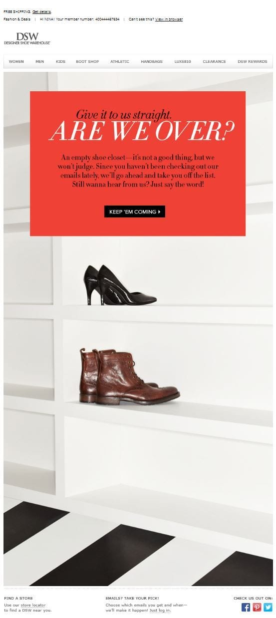DSW designer shoe warehouse automatically unsubscribed remove from email list win-back campaign call to action