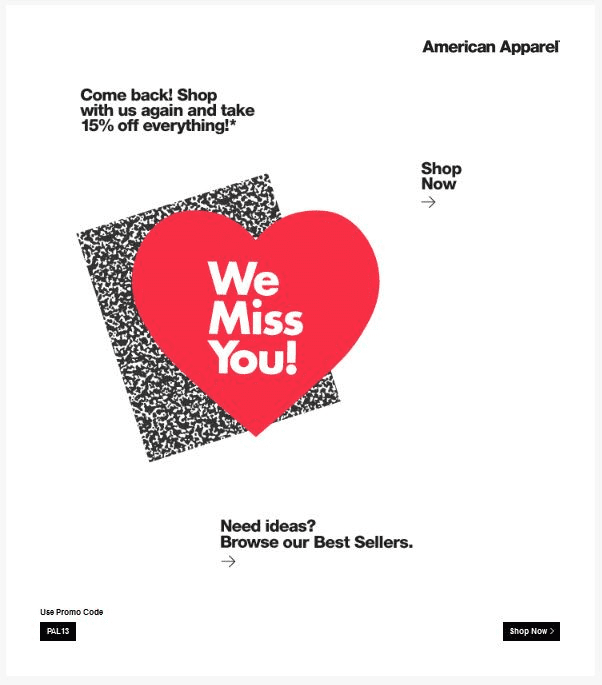 American apparel win back email fashion we miss you offer code discount