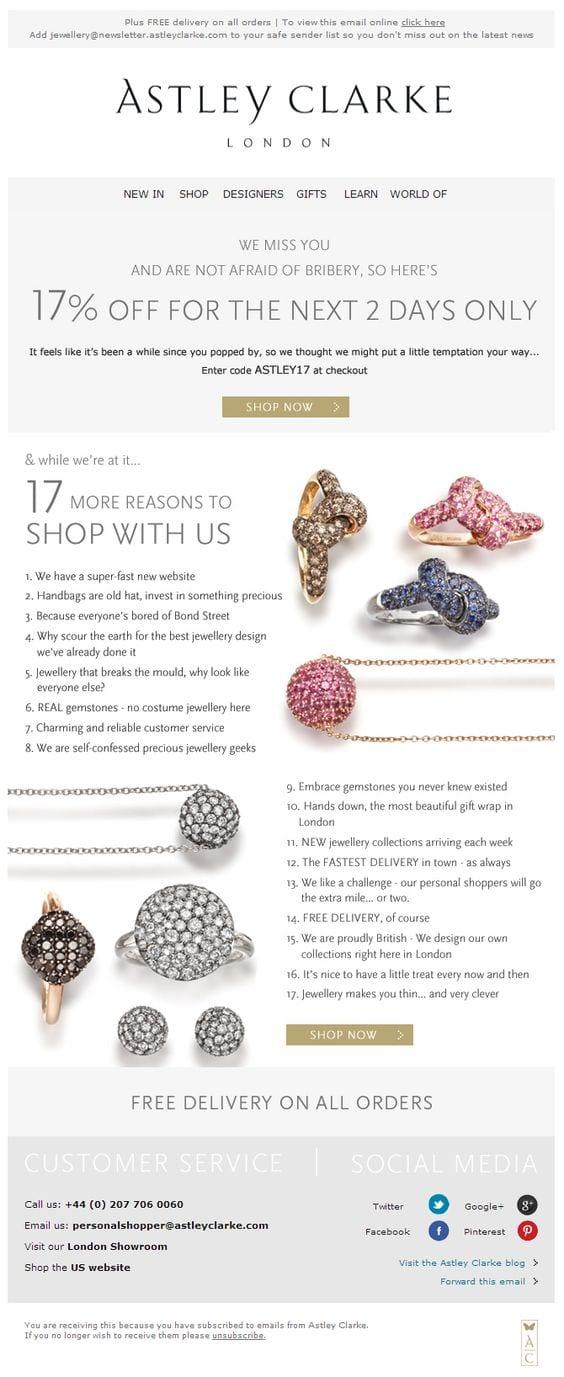 astley Clarke jewellery jewelry 17 reasons email list discount offer win-back
