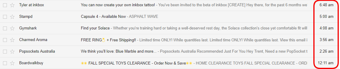 email inbox gmail newsletters promotional emails bad timing unread geolocation machine learning