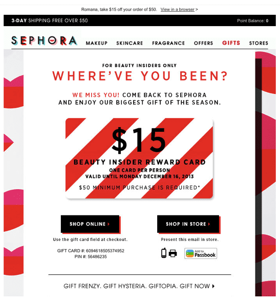 sephora make up win back email campaign gift card offer