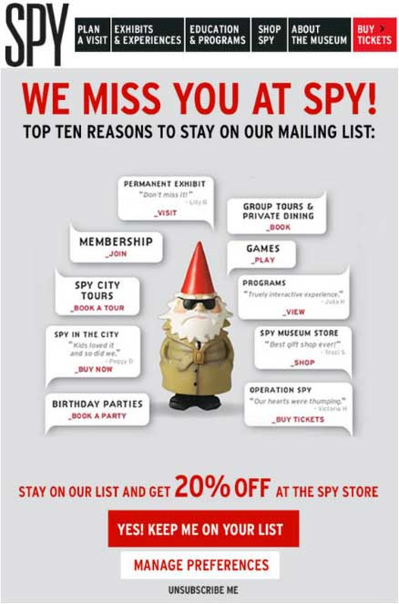 spy win-back email campaign 10 reasons list tours holidays gnome 20% offer code discount manage preferences unsubscribe