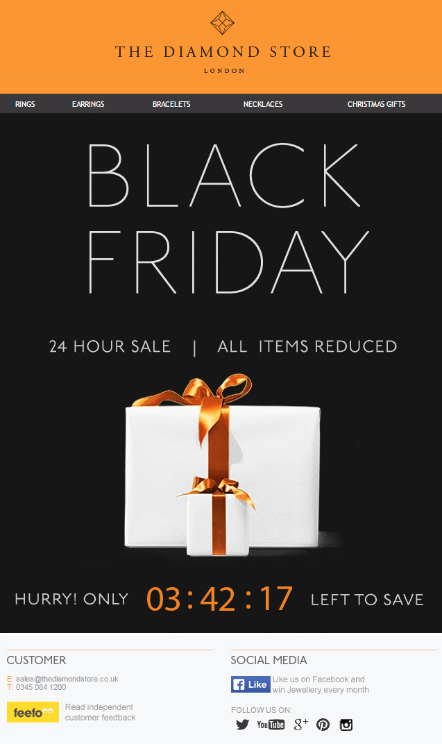 the diamond store black friday sale email countdown urgency jewelry