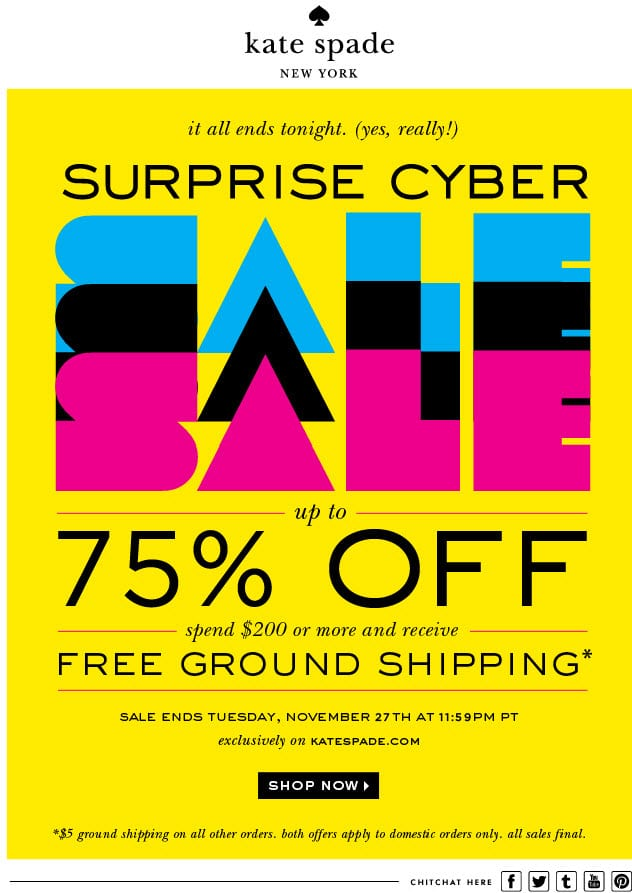 kate spade 75% off cyber sale urgency surprise email
