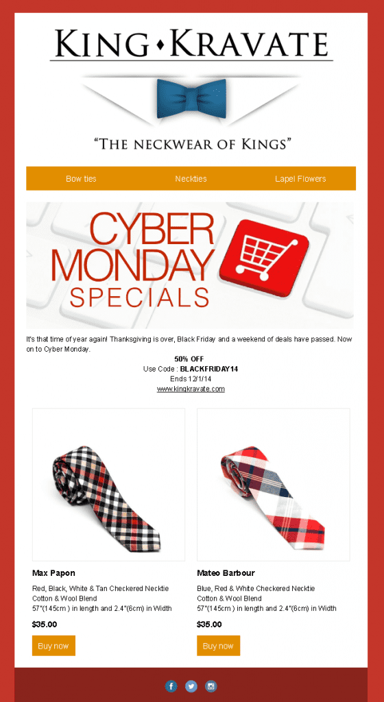 King Kravate mens ties neckwear fashion cyber monday 50% off code deal special product images