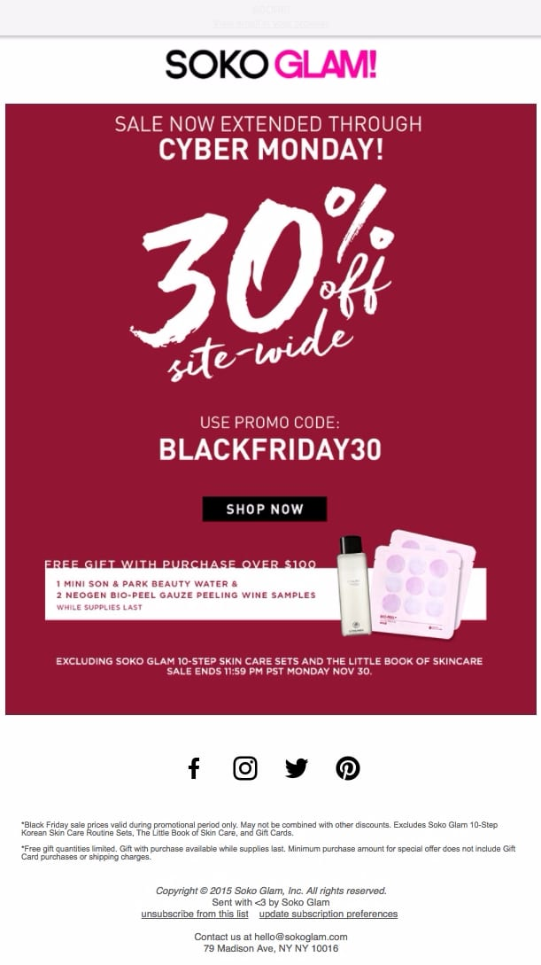 soko glam make up cyber monday black friday sale extended 30% deal email