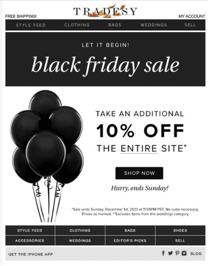 tradesy fashion ecommerce black friday sale 10% off urgency black and white monochromatic