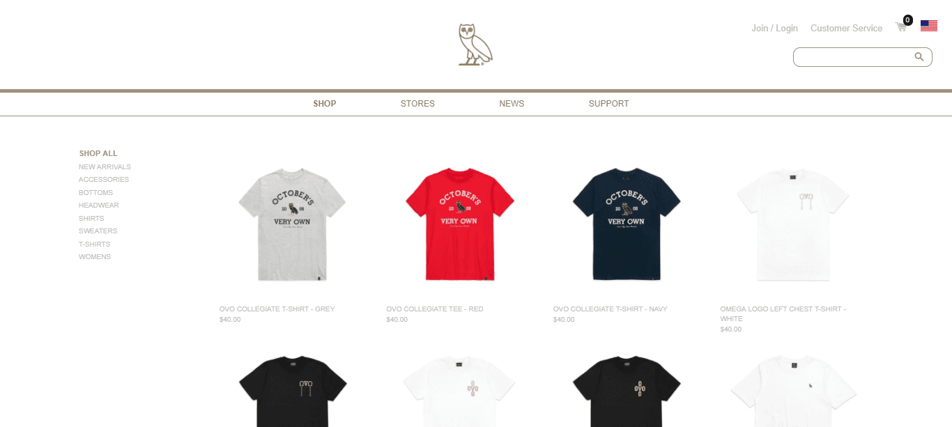drake rapper clothing range fashion line ovo october's very own shopify ecommerce store