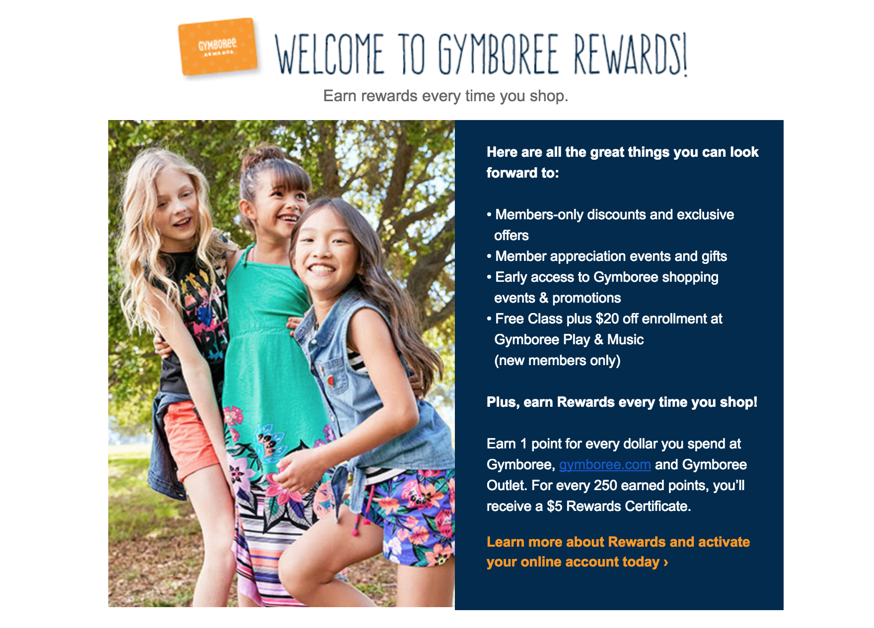 Gymboree Rewards Welcome Incentive Email