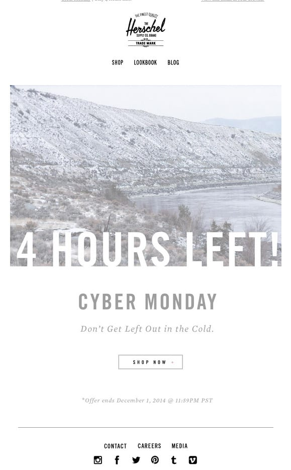 herschel cyber monday 4 hours left email fun witty copy urgency follow up