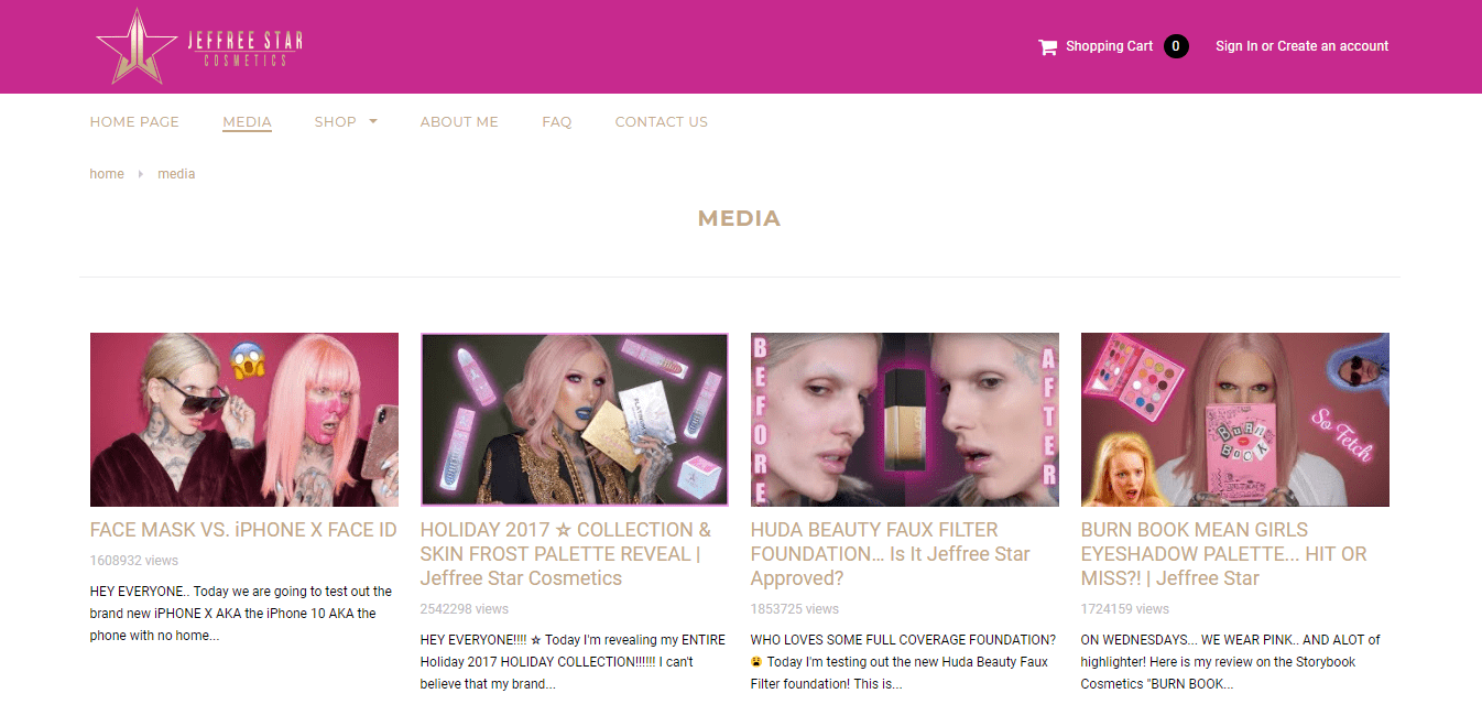 jeffree star shopify plus store video content media blog youtube videos make up cosmetics