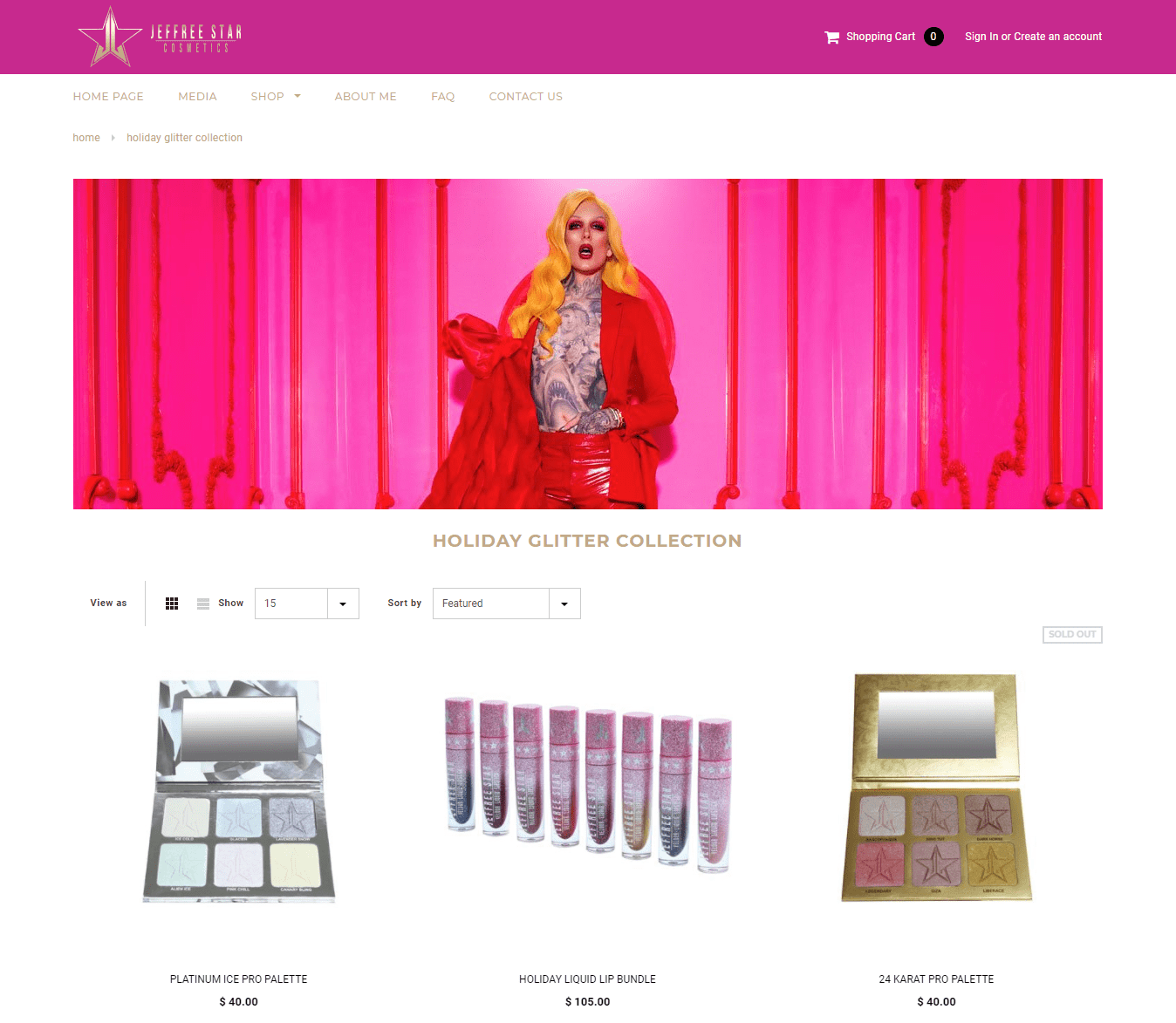 jeffree star youtuber singer make-up artist cosmetics ecommerce store shopify plus product range