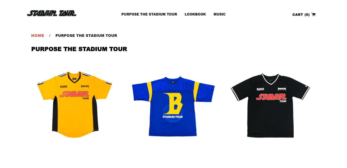 justin bieber purpose the stadium tour merch clothing shopify plus store lookbook music