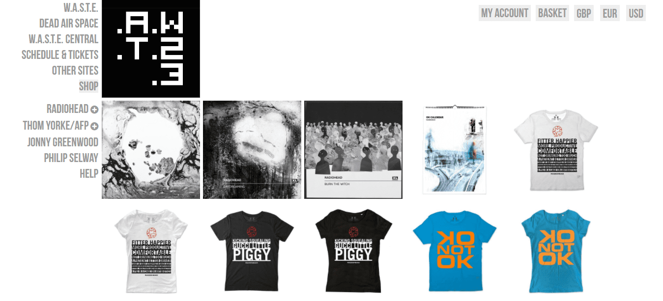 radiohead band waste W.A.S.T.E. headquarters online store ecommerce merch music fan network shopify plus