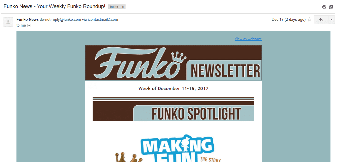 funko newsletter no-reply donotreply business email address gmail