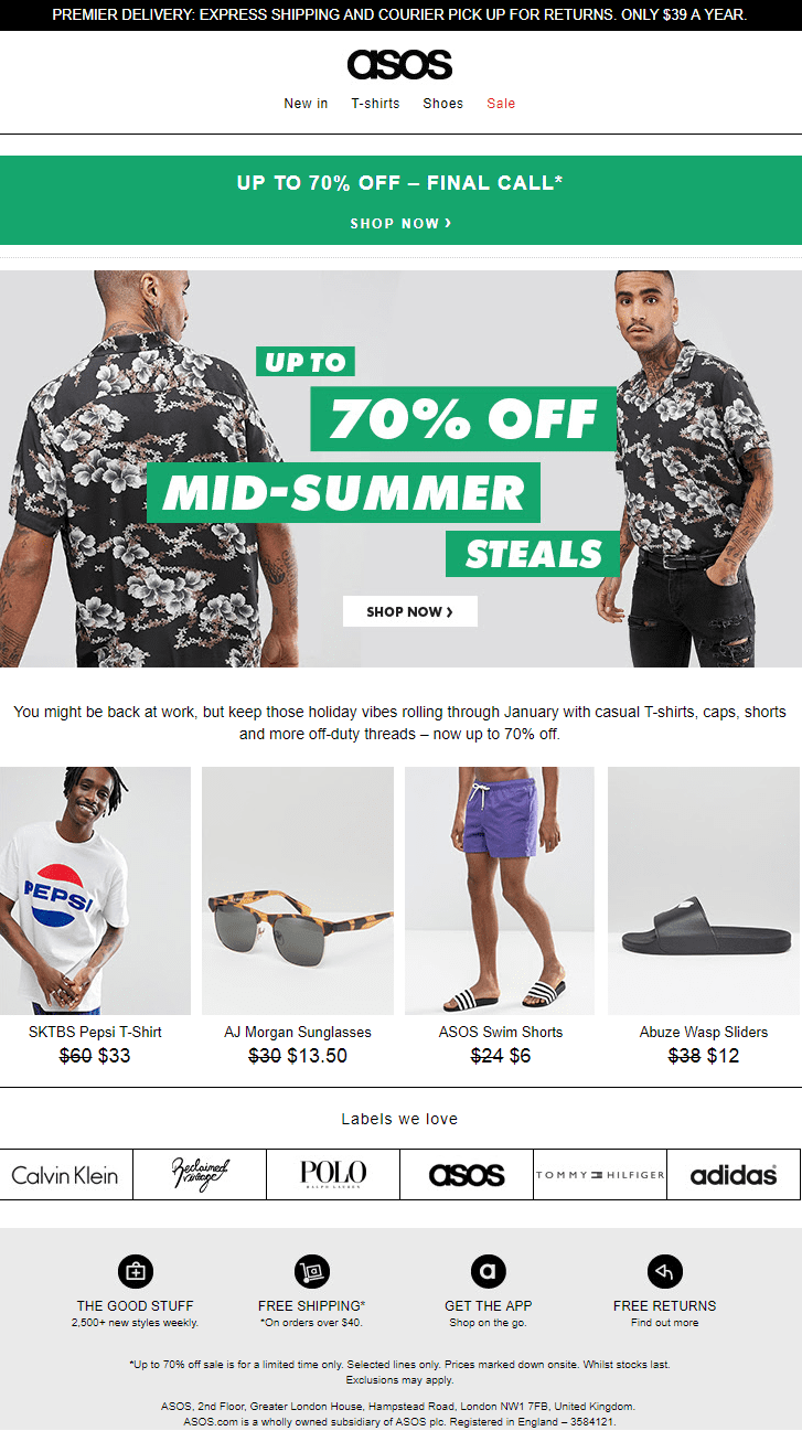 asos slow moving inventory product recommendation engines sale items discount email newsletter