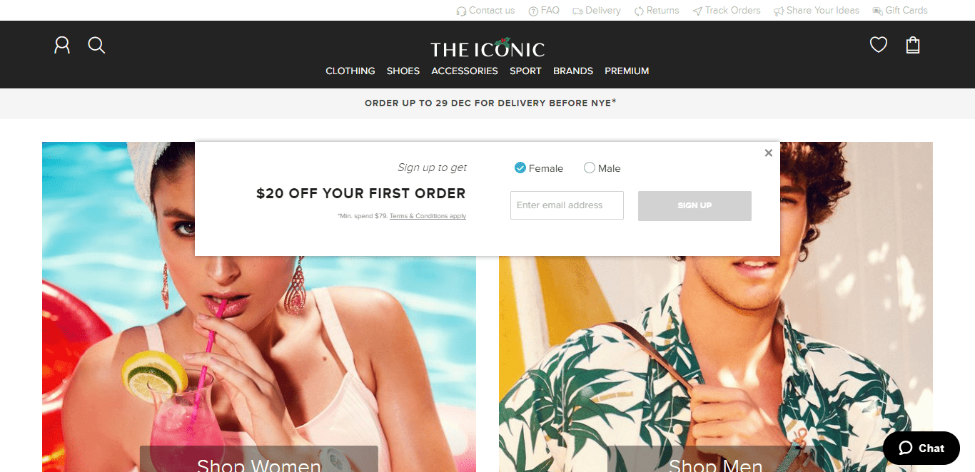 the iconic fashion mens womens segmentation pop up opt-in email collection form