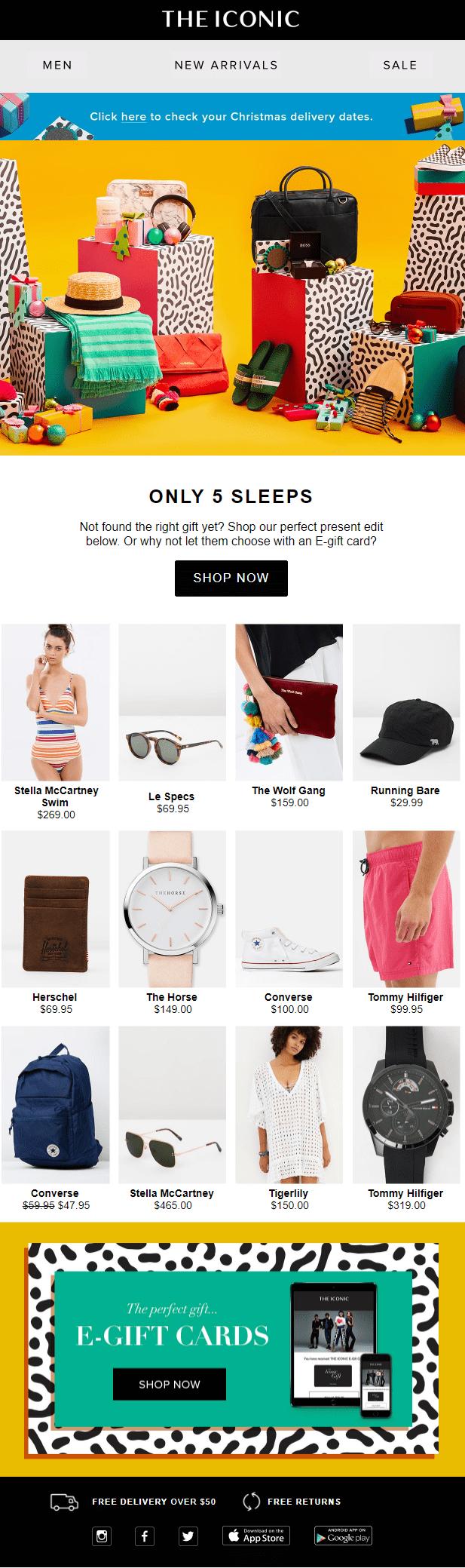 the iconic fashion email newsletter mens womens fashion segmentation christmas holiday