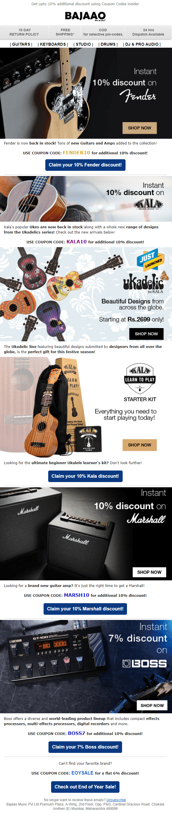 bajaao guitars cta call to action marketing email newsletter