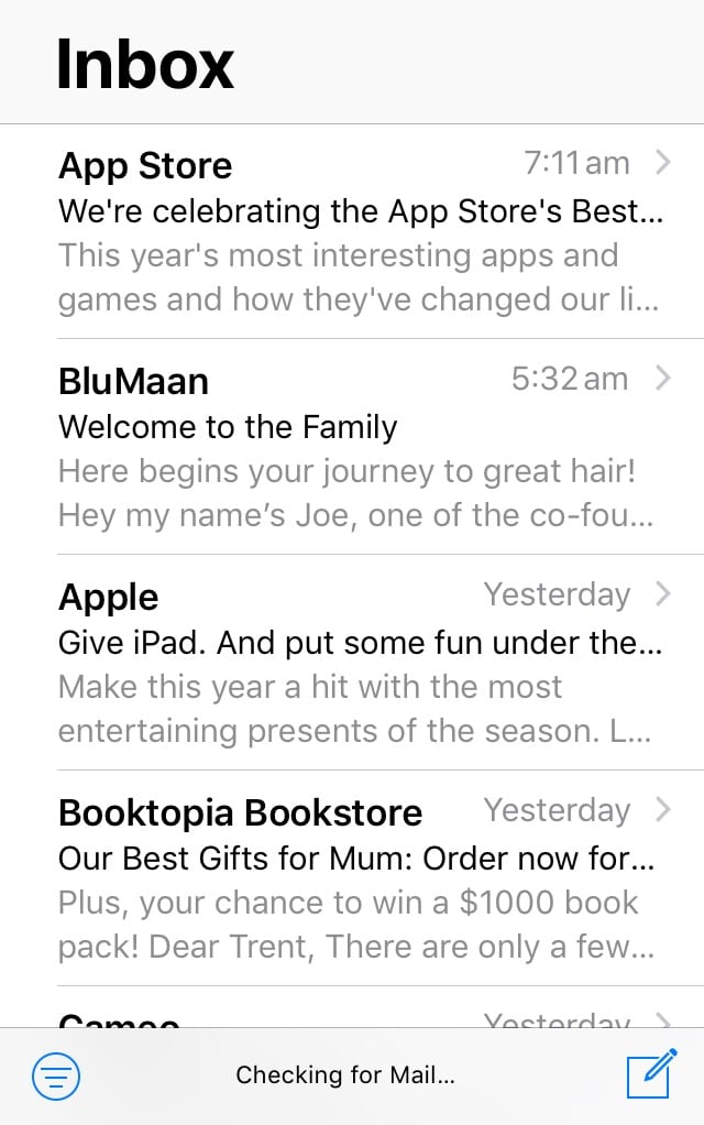apple mobile mail app no promotions primary tabs gmail