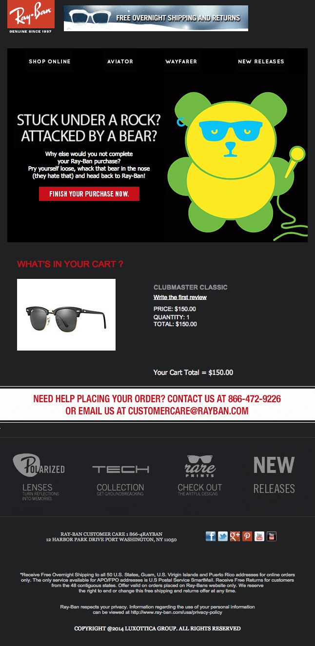 Ray Ban email example of a great recovery email