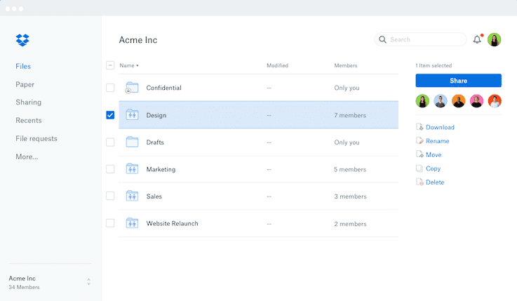 screenshot of dropbox's interface