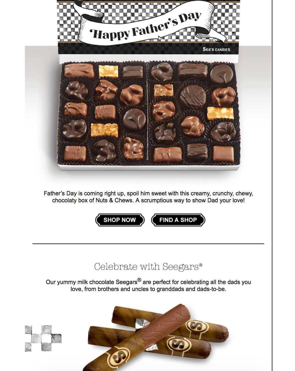 chocolate father's day email