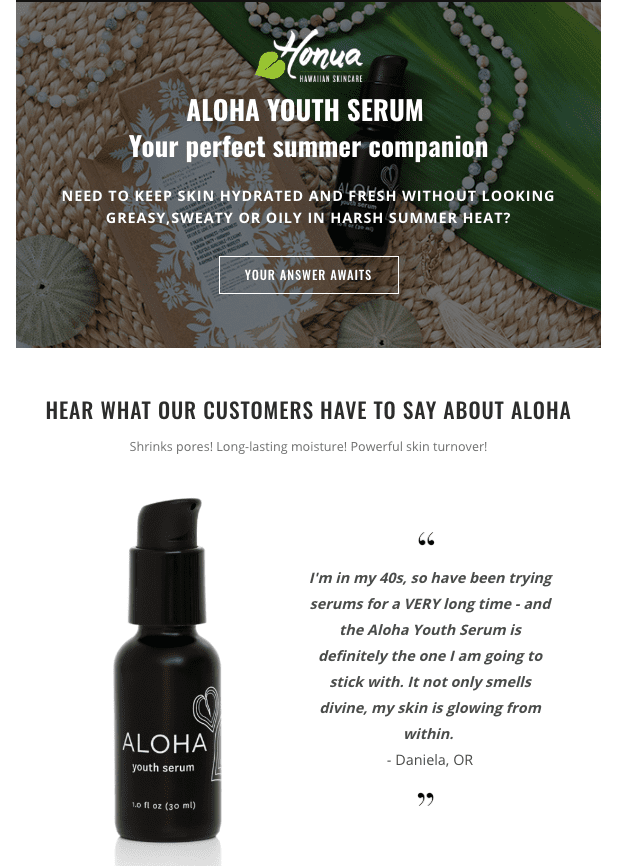 Example of one of Honua Hawaiian Skincare's Emails