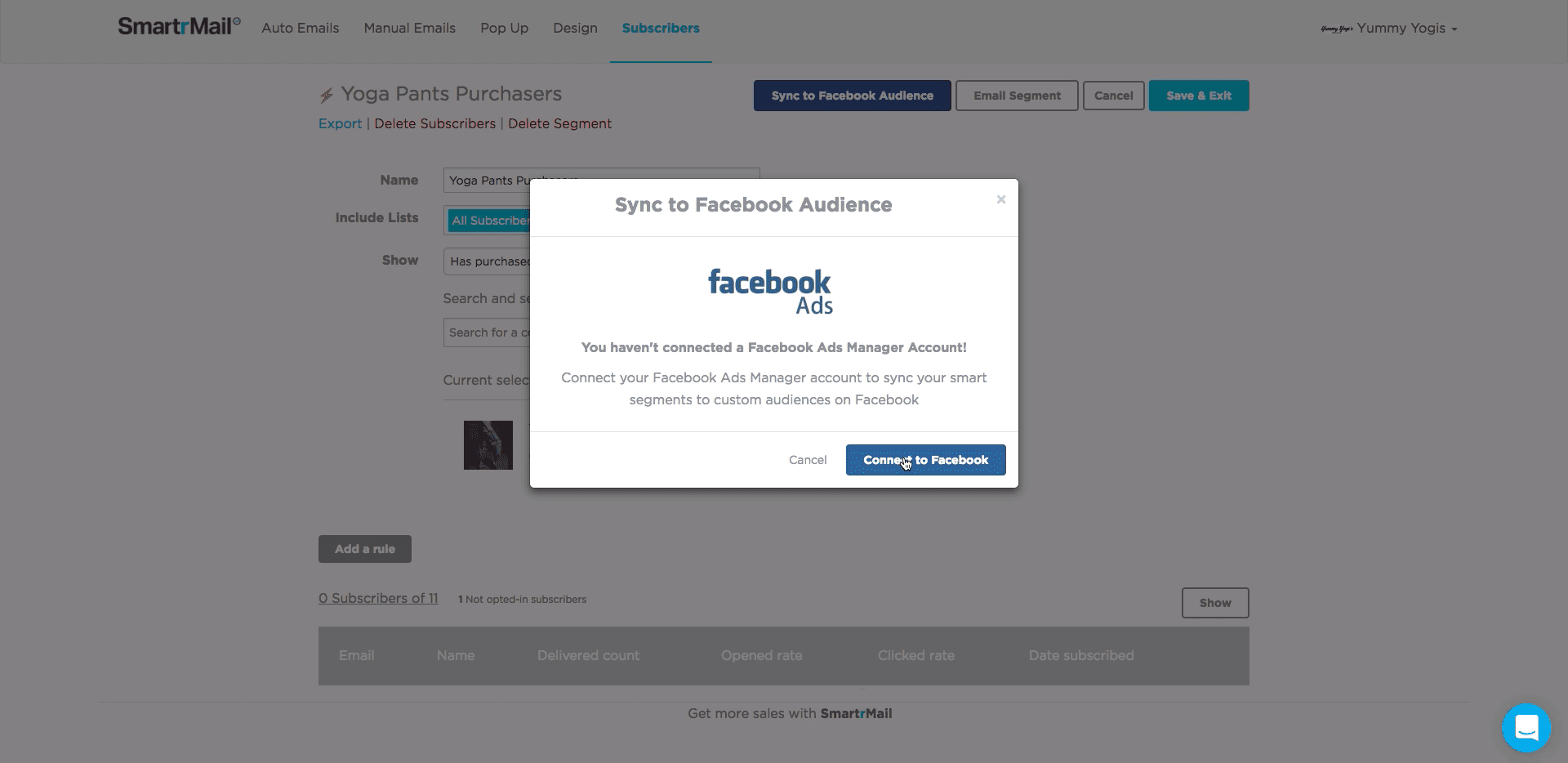 Screenshot of sync smart segment to facebook audience