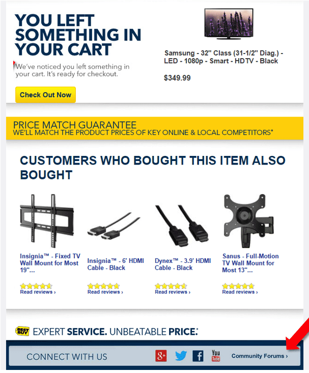 abandoned cart email with good details