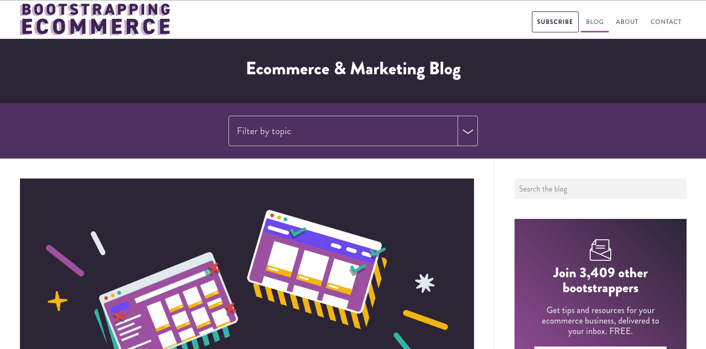 Screenshot of the Bootstrapping Ecommerce blog