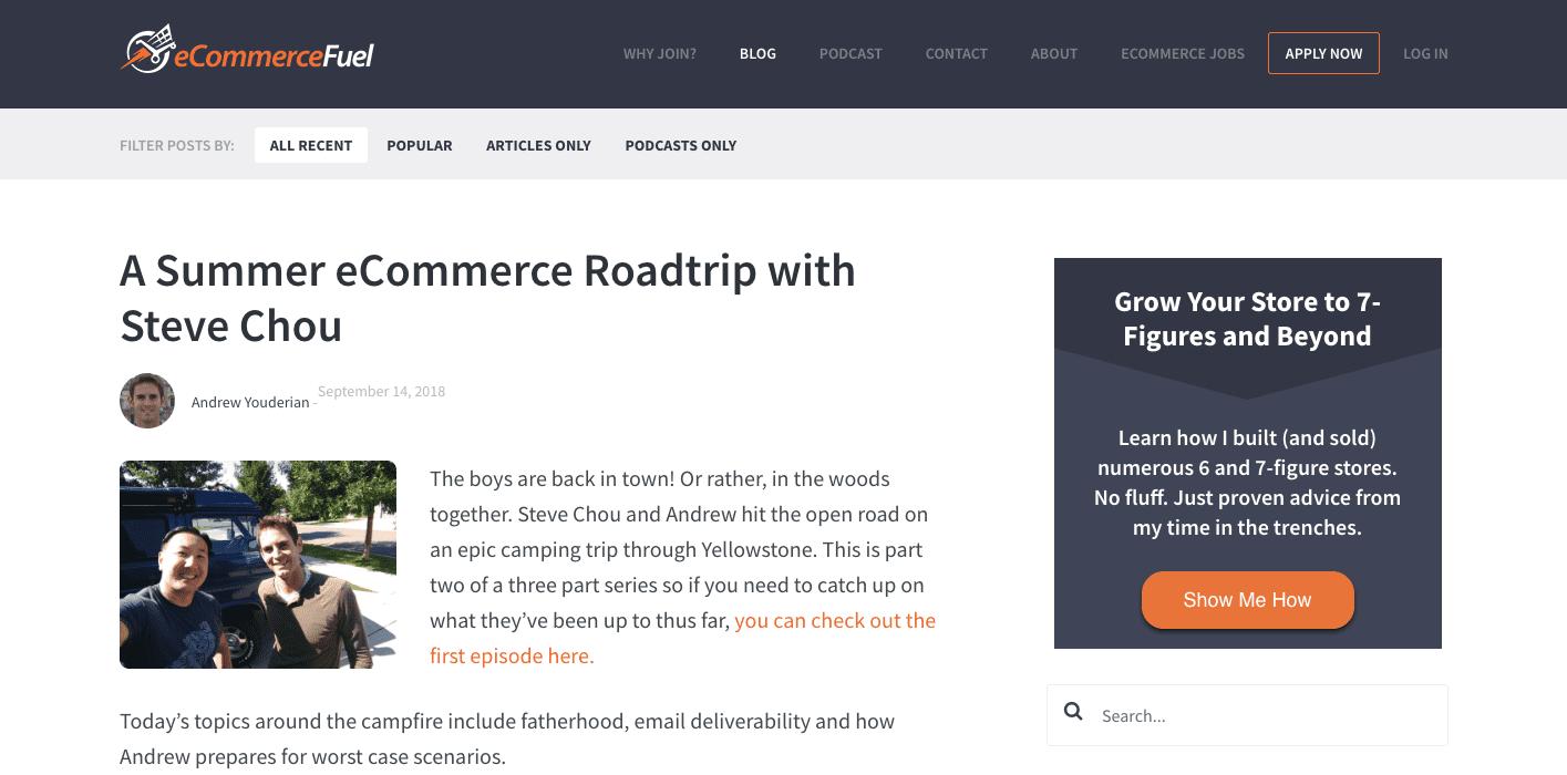 Screenshot of the ecommercefuel blog