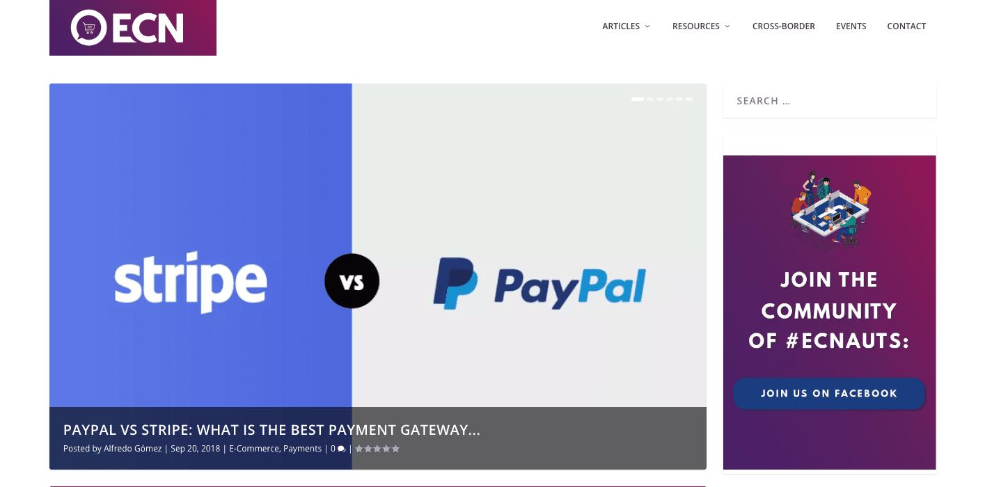 Screenshot of the ecommerce nation blog