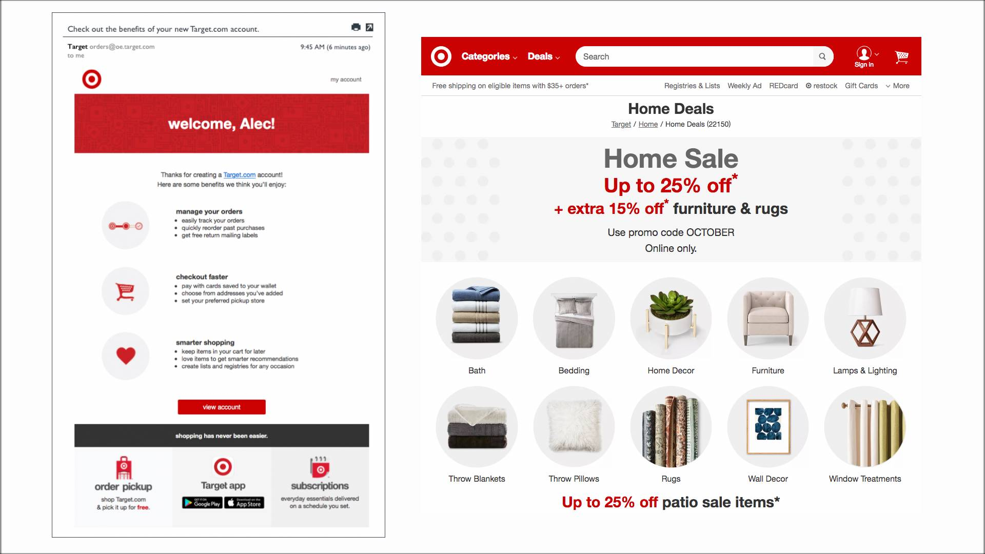 Target email compared to their website